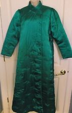 Vtg Glam Emerald green Satin Quilted Long House Coat Robe Satin Lined Sz M MINT