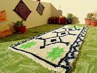 VINTAGE Beni Ourain Moroccan Handmade Flatweave Runner Rug Berber Azilal 2' x 6'