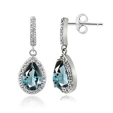 Sterling Silver 3ct TGW Blue & White Topaz Teardrop Dangle Earrings