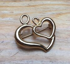 Gorgeous Vintage Double Heart Brooch/Gold Tone/Cut Out Design/Pin/Fur/Signed