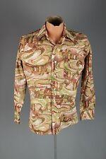 Vtg Men's 1970s Bardon Polyester Pointillism Painting Style Shirt sz M 70s #3024