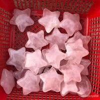 5pcs Natural pink rose crystal pentagram quartz healing polishing decoration