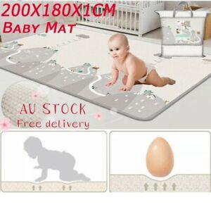 200/180CM Non-Slip Baby Carpet Game Mat Foam Puzzle Pad Baby Crawling Blanket AU