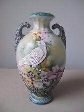 Antique Nippon Hand Painted Moriage Bird Vase Blue Maple Leaf Back Stamp