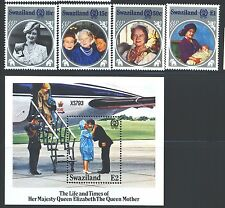 SWAZILAND Sc476-80 SG486-89,MS490 MNH 1985 Queen Mother set of 4+MS SCV$8
