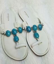 Ann Taylor White Sandals Size 7 Turquoise Accent