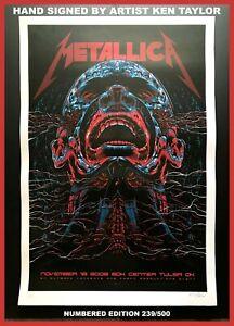 METALLICA Hand Signed Numbered Original RARE 2008 Concert Art Poster Ken Taylor