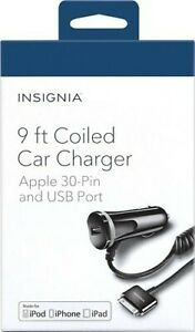 Insignia 9 ft Coiled Car Charger Apple w/ 30-Pin Cable & USB Port iPhone & iPad