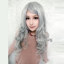 80CM Lolita Long Hair Grey Party Anime Heat Resistant Bangs Curly Cosplay Wig UK
