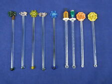 Vintage Lot of 9 Art Glass & Plastic Swizzle Sticks Drink Cocktail Stir Stirrer