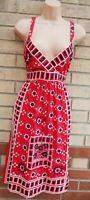 DEBENHAMS RED WHITE FLORAL BEADED FRONT STRAPPY COTTON A LINE TEA DRESS 12 M