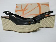 Via Spiga Size 10 M Luciana Black Leather Slingbacks Wedges New Womens Shoes