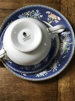 (Set of 2) Wedgwood Bone China BLUE SIAM cream Soup Bowls with Saucers (England)