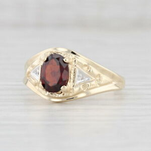 1.40ct Garnet Ring 10k Yellow Gold Diamond Accents Size 10 Oval Solitaire