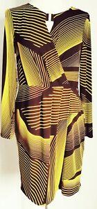 Star by Julien Macdonald Women's Dress Black Yellow Size 14 Striped Work Party