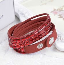 Made With Swarovski Elements Pave Crystal & Suede Double Strap Bracelet Red