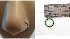 Jewelry 20 gauge 20g Dark Green Coiled Enamel Non Tarnish Nose Hoop Ring