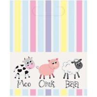 8 x Pastel Farm Animals Loot Bags Baby Birthday Party Supplies Treat Goody Yard