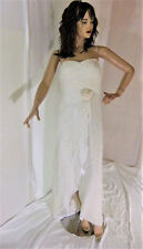 Alyce Designs GOWN Prom Dress White Beaded Formal Sz 4 Sequin Pageant Strapless