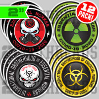 "12 PACK 2"" Essential Worker Hard Hat Sticker VARIETY Pack Nuclear Toxic Hazard"
