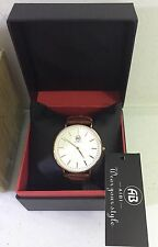 ALIBI MEN'S WATCH COPPER TONE LEATHER STRAP NEW IN BOX WITH TAGS