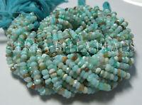 "13"" natural aqua blue PERUVIAN OPAL faceted gem stone rondelle beads 3.5mm - 4mm"