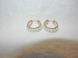Genuine Cultured Pearl Hoop Earrings In 10k YG. Pierced, Snap Closure. Lovely!