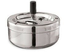 NEW LARGE CHROME ODOUR FREE SPINNING ASHTRAY WITH CIGARETTE RESTS SMOKE SMOKING