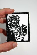GANGSTER JESUS in Crown of Thorns Christian EMBROIDERED IRON ON BIKER PATCH ART