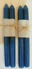 FREE Shipping, NEW 4 BLUE BEESWAX CANDLES: HAND-ROLLED ALL-NATURAL, 4 TAPERS