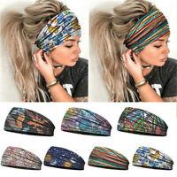 Women Wide Elastic Turban Headwraps-Stretch-Headband Sports -Yoga Gym Hair-Band