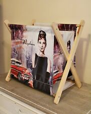Audrey Hepburn Canvas and Wooden Magazine Holder Rack Storage Box Glamour Paris