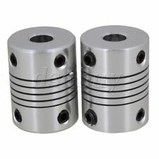 2pcs 6.35mm to 10mm Silver CNC Stepper Motor Shaft Coupling Coupler for Encoder