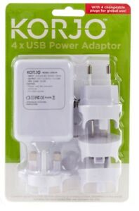 Korjo 4-Port USB World Travel Power Adaptor Charger Plug  AU NZ UK EU US JAPAN