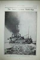 1903 PRINT GERMAN BATTLE SHIP MECKLENBURG AT TRIALS