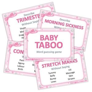 Baby Shower Game  - Taboo - PINK Stars Girl Party Guessing Group