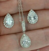 Solid 925 Sterling Silver CZ Teardrop Necklace and Stud Earrings Set .