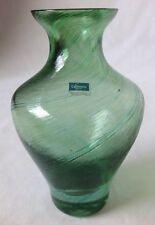 Caithness Green Swirl Art Glass Vase Textured Hand Blown