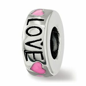 Sterling Silver Reflection Pink Enameled Hearts Love Amour Spacer Bead MSRP $86