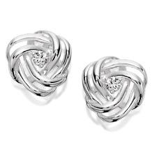 Beautiful Genuine 925 Sterling Silver & Cubic Zirconia Swirl Knot Studs Earrings
