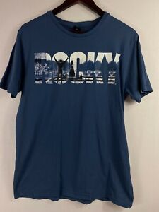 ROCKY Size M Mens Blue Printed Casual Short Sleeves Tee T-Shirt Round Neck