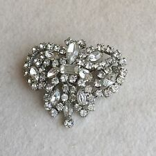 LARGE Vintage ART Deco SILVER Plated CLEAR Rhinestone BUTTERFLY Moth BROOCH Pin