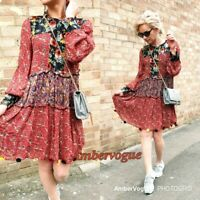 ZARA DARK RED PATCHWORK DRESS SIZE S UK 8 10