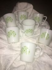 7 Vintage Pyrex White with Green Flowers Milk Glass D Handle Coffee Mugs Cups