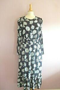 M&S Size 14 Black White + Blue Daisy Print Long Sleeved MIDI Prairie Dress NEW