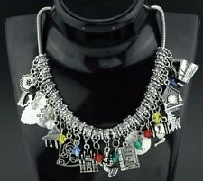 Disney's Beauty & The Beast (13 Themed Charms) Silvertone Charm Necklace