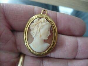 Broche Camée ancienne plaqué or