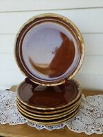 "Vintage Set of (7) Pottery Brown Drip Glaze 10""  Dinner Plates * Ovenproof *"