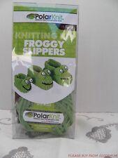 PolarKnit Knitting Kit Froggy Slippers Frog Polar Fleece Sz Baby Child Women Men