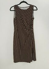 TALBOTS Brown White Polka Dot Sleeveless Dress